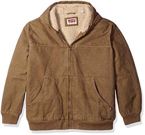 Levi's Men's Cotton Canvas Workwear Hoody Bomber With Full Sherpa Lining, Tan, 2X (Levis Workwear)