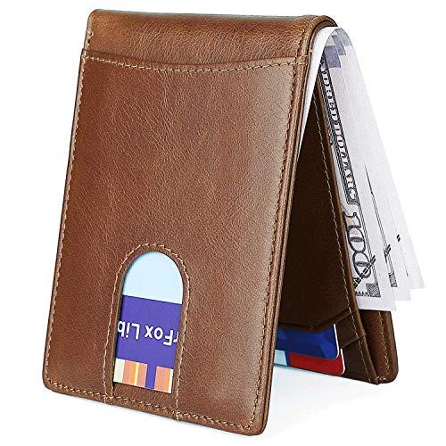 - Men's Slim Leather Wallet Small Billfold Hidden Card Front Pocket Wallet with RFID Blocking Light Brown