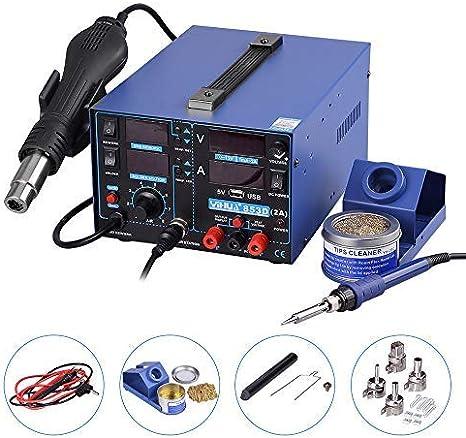 Yihua estacion de soldadura digital SMD Kit del Soldador Eléctrico con pistola de aire 853D (USB 853D)