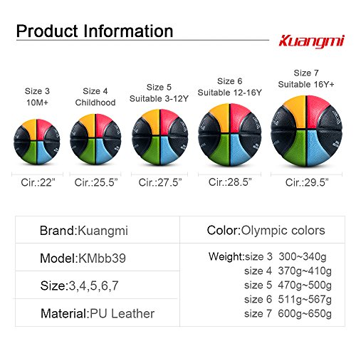 """Kuangmi Olympic Colors Basketball Size 3,4,5,6,7 for Baby Child Boys Girls Youth Men Women (Intermediate Size 6(28.5"""")) by Kuangmi (Image #6)"""