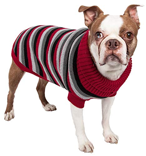 (PET LIFE 'Polo-Casual Lounge' Cable Knit Fashion Designer Turtle Neck Pet Dog Sweater, Medium, Red, Black and Grey)