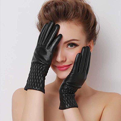 Pyrsun(TM) Women Warmer Winter Gloves Leather Elegant Girl Brand Mittens With Soft Fur Female Windproof Waterproof Pineapple pattern Glove