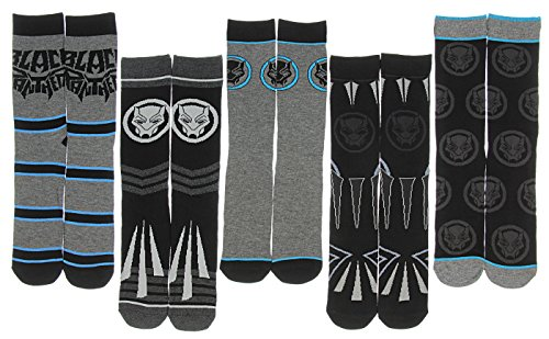Black Panther Marvel Comics Movie Character Costume Adult Crew Socks 5 Pair -