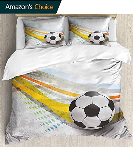- shirlyhome Teen Room Decor Home 3 Piece Print Quilt Set,Soccer Background with Football Colorful Lines Sports Game Digital Display with 2 Pillowcase for Kids Bedding 90