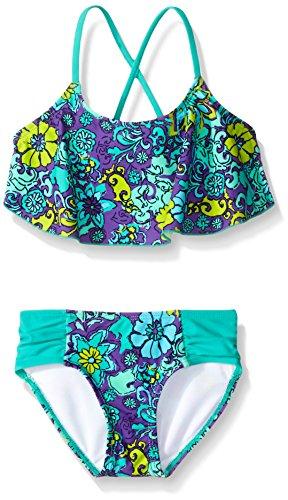 Kanu Surf Big Girls Karlie Flower Flounce Bikini Swimsuit, Purple, 10