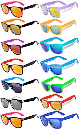 Wholesale Colored Mirrored and Smoke Lens Sunglasses 14 pairs -