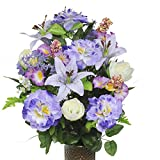 Lavender Azalea and Lily and Petunia Silk Flower Bouquet with Stay-In-The-Vase® Design Flower Holder(SM1305)