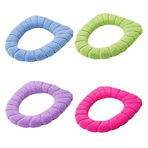 Juego de 4, almohadillas de asiento de inodoro estirable de WC Soft Warmer
