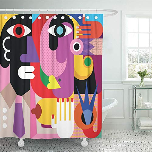 Emvency Shower Curtain Waterproof Adjustable Polyester Fabric Red Modern Abstract Portrait of Woman and Man Blue Contemporary Boobs Fine Face 60 x 72 Inches Set with Hooks for Bathroom