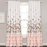 Cheap Lush Decor Lush Décor Flutter Butterfly Window Curtain Panel Pair Set 84″ x 52″ Pink