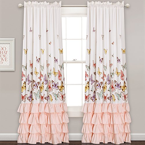 Lush Decor Lush Décor Flutter Butterfly Window Curtain Panel Pair Set, 84