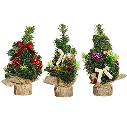 XONOR Árbol de Navidad Artificial de 3 Piezas de 20 cm de Altura con Adornos - Árbol de Pino de Navidad hogar, Oficina, Mesa y Escritorio