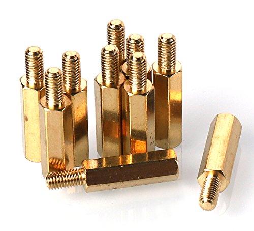 100pcs//lot M2.5 Male x M2.5 Female Thread 6mm Brass Standoff Spacer M2.55+6mm