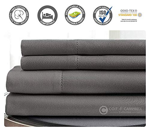 Coit & Campbell Premium Hotel Collection Oeko-TEX Certified Solid 500 Thread Count Deep Pocket 100% Cotton Sateen Sheet Set (King, Dark Grey)
