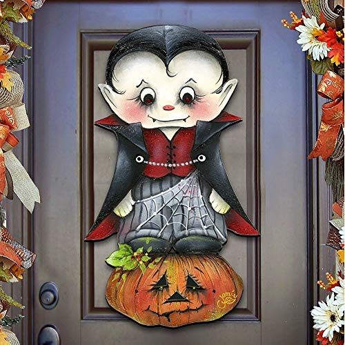"Jamie Mills-Price Halloween ""Dracula"" Wooden Indoor & Outdoor Wooden Fall Hanging Door Decoration, Wall Sign, For Home, School, Office, Party #8457401H -"