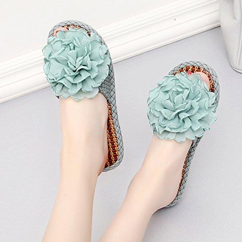 fankou Zapatillas de Mujer Cool Verano Estancia Interior Elegante Piso Antideslizante Gruesa Home Sweet Sweet Home Zapatillas,36,- una luz Azul