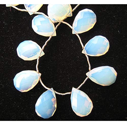 Gems World Beautiful Jewelry Fire Opal Briolettes, Opalite Beads, Opalite Stone, Opal Briolettes, Faceted Beads, Pear Beads, 20 Pieces Approx, 11x17mm ()