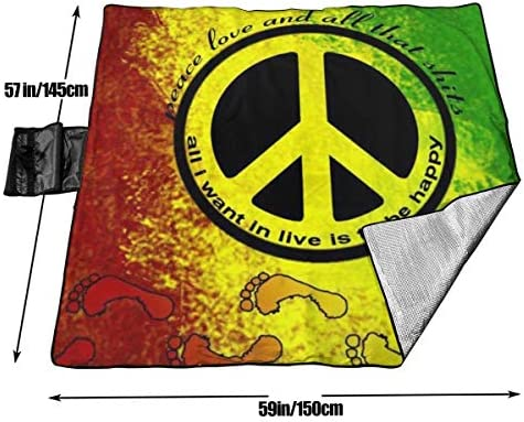 Suo Long Coperta da Picnic Rasta Footprint Bandiera Africana Peace Sign PIC Mat Mat Blanket