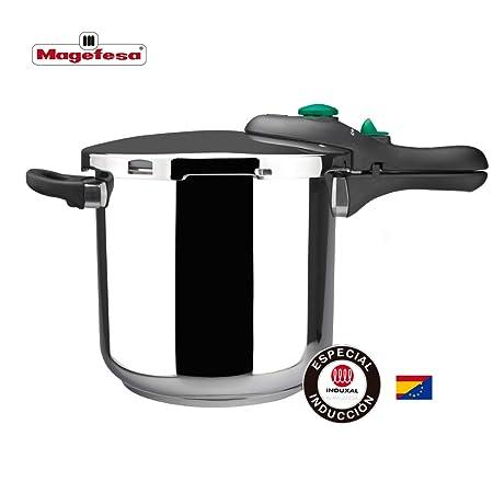 MAGEFESA DYNAMIC Olla a presión super rápida de fácil uso, acero inoxidable 18/10, apta para todo tipo de cocinas, incluido inducción. Acero ...
