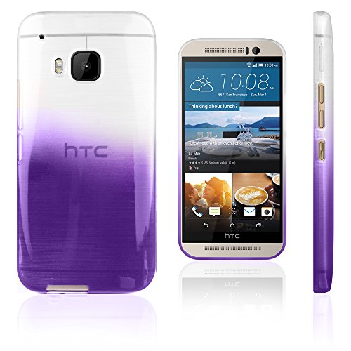 Xcessor Transition Color Flexible TPU Case for HTC One M9 (HTC One Hima). with Gradient Silk Thread Texture. Transparent/Purple