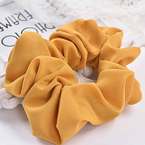 Women Elastic Chiffon Hair Bands Scrunchie Hair Tie Ring Rope Ponytail Donut Grip Loop Holder Stretchy Hairband Xuanhemen