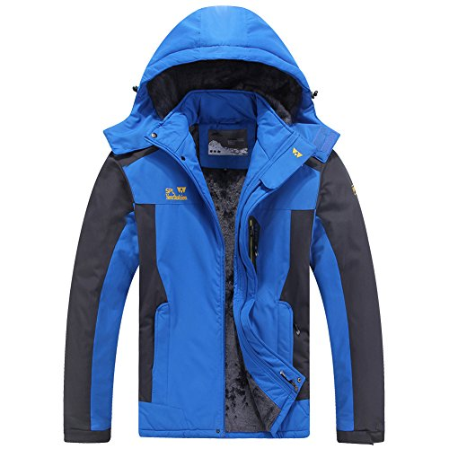 Mens Mountain Waterproof Fleece Ski Jacket Windproof Rain Jacket  9931 Bright Blue  Us Xxl  Tag 7Xl