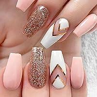 JIULORY 600 piezas de uñas de coffin largo Ballerina uñas puntas ...