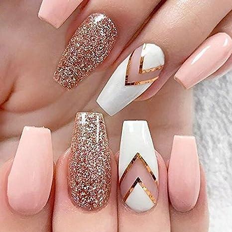 JIULORY 600 piezas de uñas de coffin largo Ballerina uñas puntas de cubierta completa acrílico uñas postizas 10 tamaños (largo transparente): Amazon.es: ...