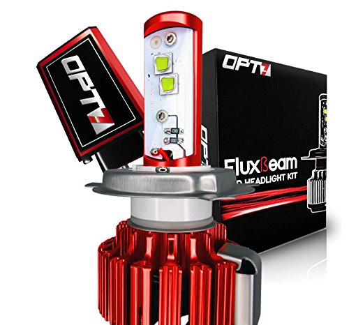 OPT7 Motorcycle LED Headlight Kit w/ Arc-Beam Bulb - H4 9003 - 6000K Cool White - 40w 3,500Lm CREE - 2 Yr Warranty (Aftermarket Motorcycle Headlights compare prices)