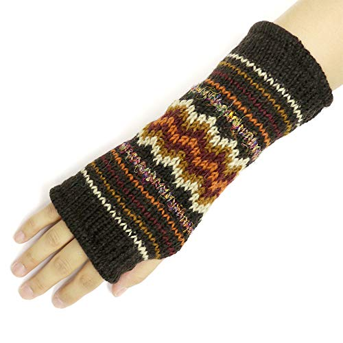 CFrost Women's Hand Knit Zig Zag Fuzz Fingerless Arm Warmer Gloves by C Frost (Image #3)