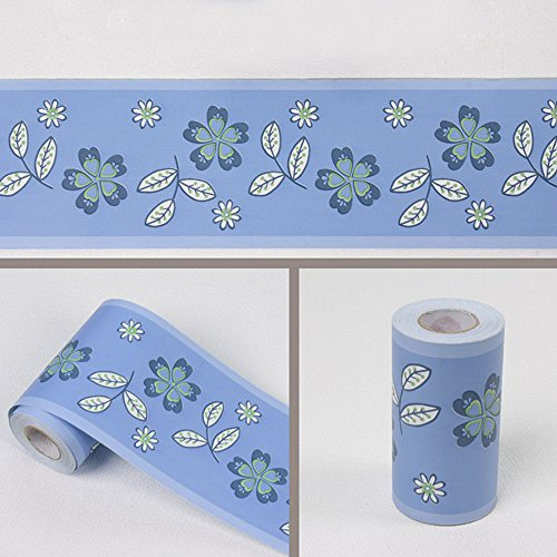 (Yifely Blue Floral Leaf Wallpaper Border Self Adhesive Wall Covering Borders Kitchen Bathroom Tiles Decor Sticker)