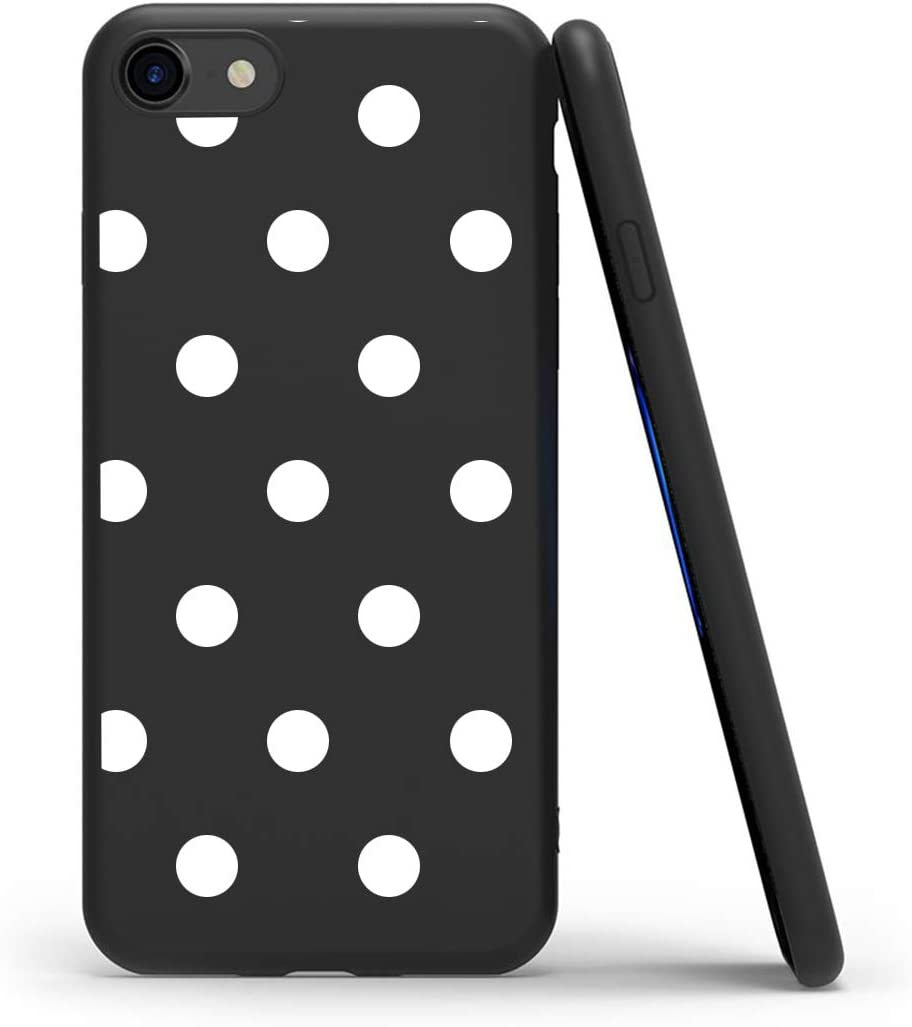 ZhuoFan Funda iPhone 7/8 / 9 / SE (2020), Cárcasa Silicona Ultrafina Negra con Dibujos Diseño Suave TPU Antigolpes de Protector Piel Case Cover Fundas para Movil Apple iPhone 7, Lunares Blanc
