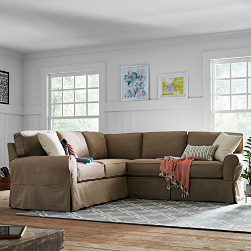 "Stone & Beam Carrigan Modern Sectional Sofa Couch with Slipcover, 103""W, Khaki"