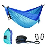 ASOUT Double Camping Hammock-Lightweight Nylon Portable Hammock with Hammock Tree Straps,for Outdoor Backpacking Travel.(Dark Blue/Lake Blue, Double)