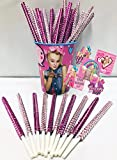 JoJo Siwa Inspired Party Favor Bling Cake Pop Sticks - Hot Pink & Light Pink Glam for Lollipops, Cake Pops & All Things Party! Plus Birthday Child Keepsake Cup & JoJo Siwa Sticker Favors!