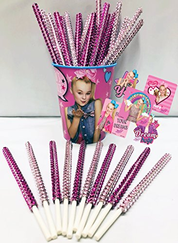 JoJo Siwa Inspired Party Favor Bling Cake Pop Sticks - Hot Pink & Light Pink Glam for Lollipops, Cake Pops & All Things Party! Plus Birthday Child Keepsake Cup & JoJo Siwa Sticker Favors! by L&E Products