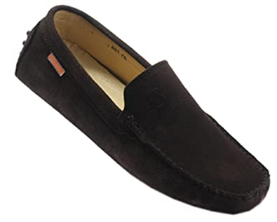 70bf93df1a3 ROUMOSHEEP Men s Fashionable Suede Leather Driving Gommino Loafers Coffee  43 EU