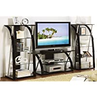3PC TV Media Stand Shelves with Curved Black Supporting Tempered Glass
