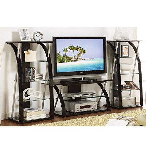 Poundex 3PC TV Media Stand Shelves with Curved Black Supp...
