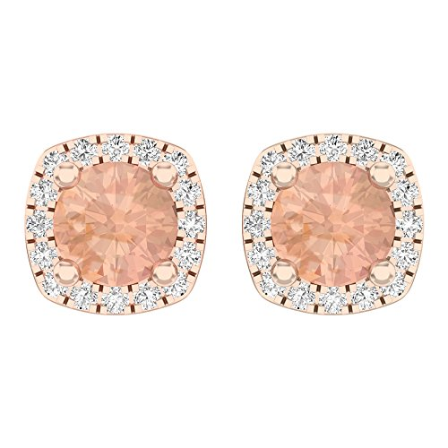 10K Rose Gold Round Cut Morganite & White Diamond Ladies Halo Style Stud Earrings by DazzlingRock Collection (Image #3)