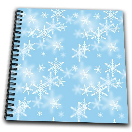Anne Marie Baugh Snow Flakes - Floating White Snowflakes Against A Light Blue Background - Drawing Book 8 x 8 inch (db_65567_1)