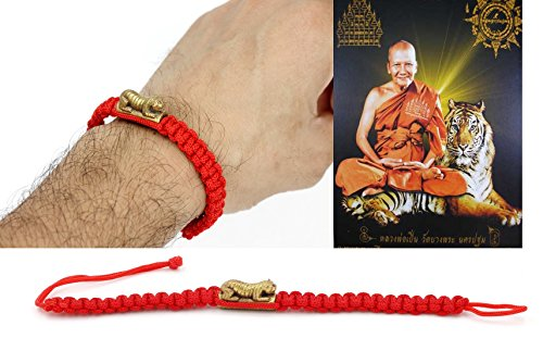 Diy Priest Costume (Red Rope Bracelet Wristband Amulet lp' Pern Wat Bang-Phra Tiger 32 cm.Trakut Protection free special gift)