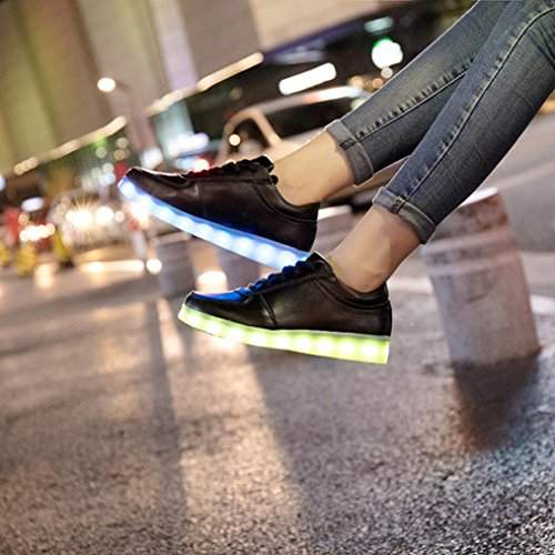 WYXlink Charging Shoes USB Cable Light LED Shoes Up Black Up Luminous Unisex Lace Sneakers Couples r0BqwCr