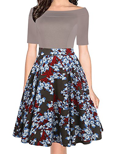 (oxiuly Women's Vintage Off Shoulder Pockets Casual Floral A-Line Party Dress OX232 (L, Grey))