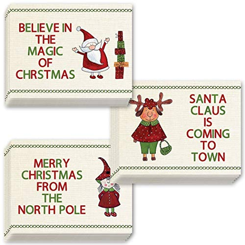 (Kids Christmas Greeting Cards w Envelopes 48 Pack of 3 Assorted Cute Holiday Designs Seasonal Magic Perfect for Teacher Students Classroom Children's Card Swap 48 Mixed Boxed Set Digibuddha VHA0045)