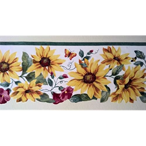 Wallpaper Border Sunflowers Red Morning Glories With Green Vine On White