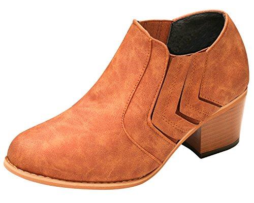 SANMIO Women's Western Round Toe Cowboy Booties, Autumn Winter Low Block Heel Ankle Booties with Fur Lining Brown