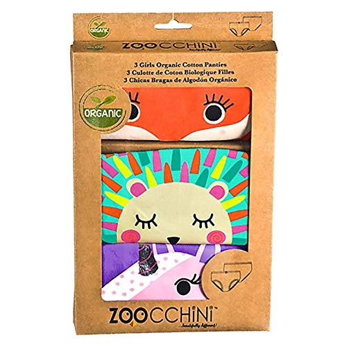 ZOOCCHINI Girls Organic Panty Set - Enchanted Forest, Ages 2 to 6 Years, 100% Organic Cotton, 3 Pack
