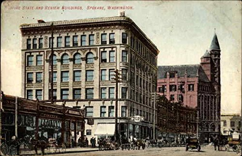 Spire State and Review Buildings Spokane, Washington Original Vintage Postcard