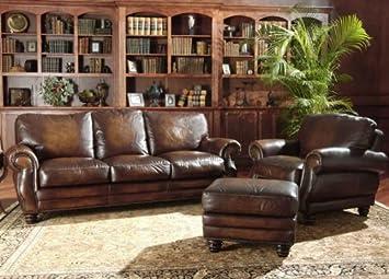 Amazon.com: Avellino 100% Full anilina sofá de piel italiana ...